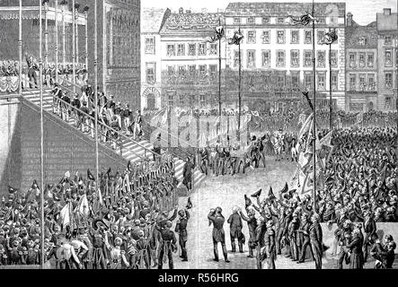 The various estates paid tribute to the prince Friedrich Wilhelm IV on October 15, 1840, a ritualized promise of loyalty in - Stock Photo