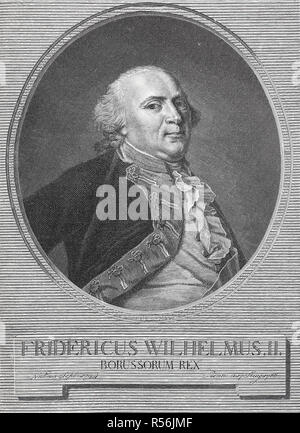 Portrait of Frederick William II, 25 September 1744, 16 November 1797, King of Prussia, 1786, woodcut, Germany - Stock Photo