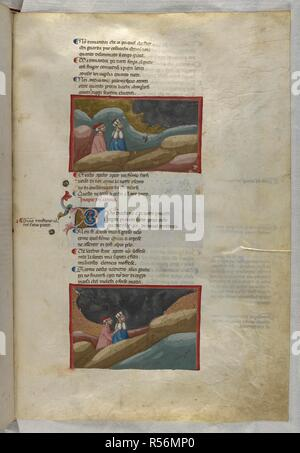 Purgatorio: Dante and Virgil watch the clouds of smoke of the wrathful souls; they pass through the dark clouds. Dante Alighieri, Divina Commedia ( The Divine Comedy ), with a commentary in Latin. 1st half of the 14th century. Source: Egerton 943, f.91. Language: Italian, Latin. - Stock Photo