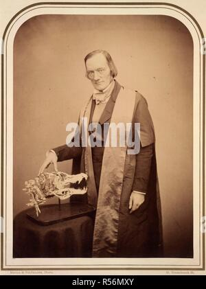 Professor Owen, F.R.S. Photographic Portraits of Living Celebrities execu. London, 1856-1859. Sir Richard Owen (1804-1892). Portrait. English Zoologist and Palaeontologist. He coined the term 'Dinosaur' ('terrible lizard').  Image taken from Photographic Portraits of Living Celebrities executed by Maull and Polyblank; with biographical notices by E. W. [and others]. Vol. 1.  Originally published/produced in London, 1856-1859. . Source: 10804.f.6, plate I. Language: English. - Stock Photo