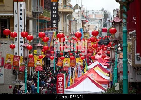 Chinatown San Francisco during Chinese New Years - Stock Photo