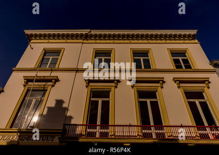 Bruges, Belgium - 17 February 2018: Large white building at Bruges - Stock Photo