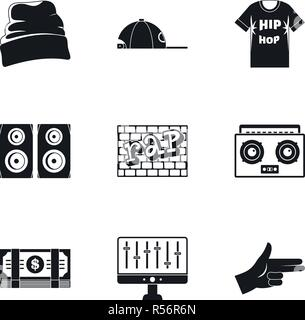 Rap icon set. Simple set of 9 rap vector icons for web design on white background - Stock Photo