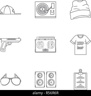 Rap icon set. Outline set of 9 rap vector icons for web design isolated on white background - Stock Photo