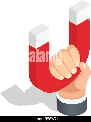 Magnet in hand icon set. Isometric set of magnet in hand vector icons for web design isolated on white background - Stock Photo