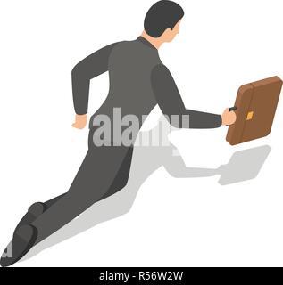 Businessman fly to work icon set. Isometric set of businessman fly to work vector icons for web design isolated on white background - Stock Photo