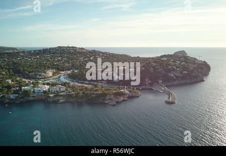 Aerial panoramic view Santa Ponsa, small town in the south west of Majorca Island. Located in the municipality of Calvia, Spain - Stock Photo