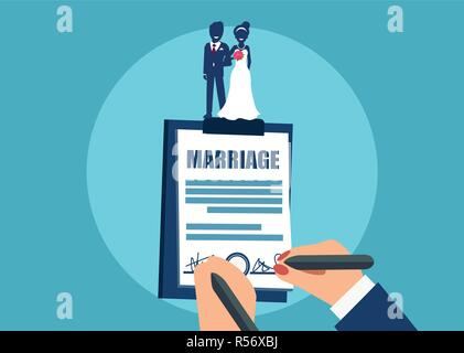 Vector style of crop newlyweds signing marriage certificate on clipboard on blue background - Stock Photo