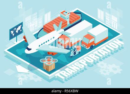 Creative isometric vector of cargo transportation of trucks and airplane and ship on blue background - Stock Photo