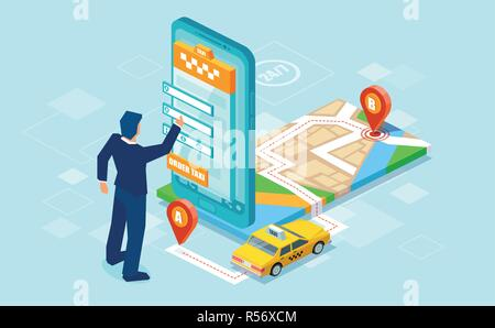Creative isometric design of man using mobile app to call for taxi with map on blue background - Stock Photo