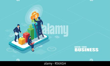Vector of businesspeople working together and growing a successful online business on a digital tablet. Investments and finance concept - Stock Photo