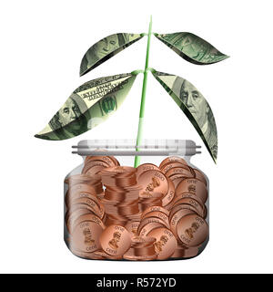 A new plant with leaves made of money grows out of a glass jar filled with pennies. The theme is savings grow over time. - Stock Photo