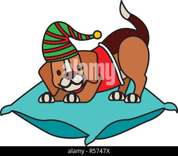 dog with hat on cushion merry christmas vector illustration vector illustration - Stock Photo