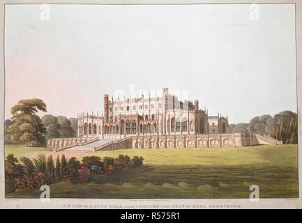 The north-east facade of Eaton Hall set in extensive parkland; flowers and shrubs in the foreground; trees in the distance. N.E. VIEW OF EATON HALL, NEAR CHESTER, THE SEAT OF EARL GROSVENOR. [London] : Pubd July 4 1814 by T CLAY, 18 Ludgate Hill, London, [July 4 1814]. Aquatint and etching with hand-colouring. Source: Maps K.Top.9.13.c. Language: English. Author: Havell, D. - Stock Photo