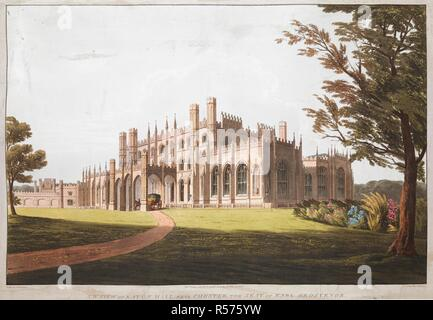 The south-west facade of Eaton Hall; a coach under the porch; a path leading to the entrance; flowers and foliage to the right; parkland in the foreground; trees throughout the scene  . S.W. VIEW OF EATON HALL, NEAR CHESTER, THE SEAT OF EARL GROSVENOR. [London] : Pubd July 4 1814 by T CLAY, 18 Ludgate Hill, London, [July 4 1814]. Aquatint and etching with hand-colouring. Source: Maps K.Top.9.13.d. Language: English. Author: Havell, D. - Stock Photo