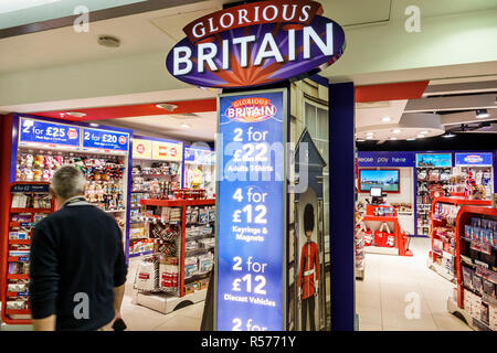 United Kingdom Great Britain England London Longford Heathrow Airport LHR terminal Glorious Britain souvenir shop shopping store entrance - Stock Photo