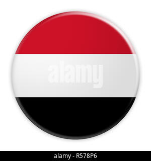Yemen Flag Button, News Concept Badge, 3d illustration on white background - Stock Photo