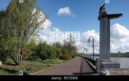 promenade on the banks of the elbe in magdeburg - Stock Photo