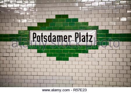 U-bahn (subway) station Potsdamer Platz in Berlin - Stock Photo