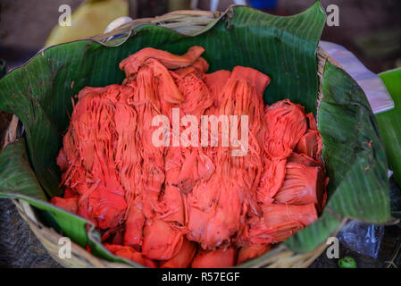 Hot kimchi for sale at local market in Yangon, Myanmar. - Stock Photo