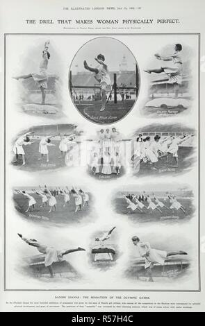The drill that makes woman physically perfect... Danish Dianas : the sensation of the Olympic Games. An exhibition of gymnastics by the Danish women's team. Illustrated London News. July 25, 1908. Source: Illustrated London News page 137. - Stock Photo