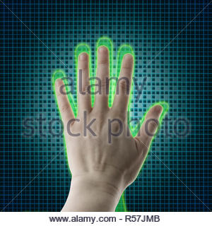 AI hand reaches towards a human hand, Virtual reality projection, Artificial intelligence (AI) and High Tech Concept. Human and conceptual cyberspace, smart artificial intelligence. Future science with modern technology. - Stock Photo