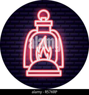 burning lantern neon brick wall vector illustration - Stock Photo