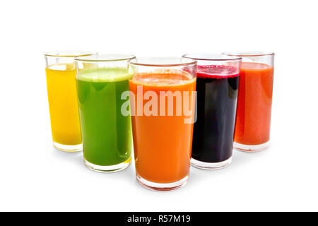 Juice vegetable in five tall glasses - Stock Photo
