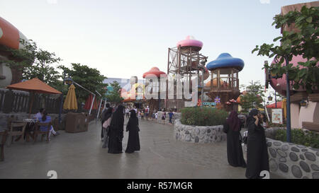 Territory of the amusement Smurfs Village in Motiongate at Dubai Parks and Resorts - Stock Photo