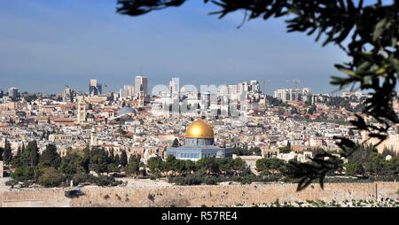 view of the historic city of jerusalem - Stock Photo