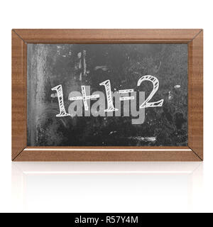 Sum one plus one equals two written on blackboard - Stock Photo