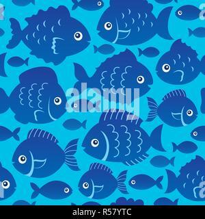 Seamless fish silhouettes theme 2 - Stock Photo