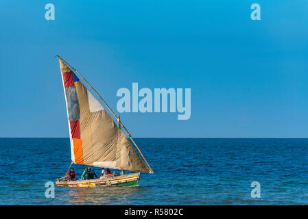 A dhow seen in Inhasurro, Mozambique - Stock Photo