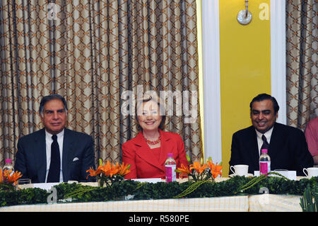 2009 - U.S. Secretary of State Hillary Rodham Clinton meets with India's business leaders. From left to right: Ratan Tata, Charmain of the Tata Group; Secretary Clinton; Mukesh Ambani, Chairman and Managing Director of Reliance Industries - Stock Photo