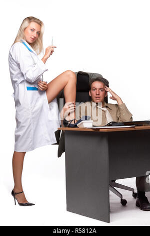 Female doctor and depressed businessman. - Stock Photo