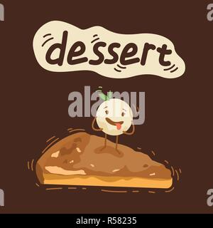 Vintage Ice Cream poster design with ice cream character - Stock Photo