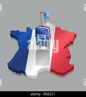Suitcase with French cap over 3D France map. All the objects are in different layers and the text types do not need any font. - Stock Photo