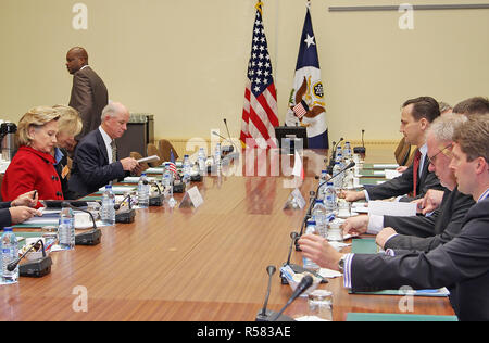 U.S. Secretary of State Hillary Rodham Clinton holds a bilateral meeting with Polish Foreign Minster Radoslaw Sikorski in Brussels - Stock Photo