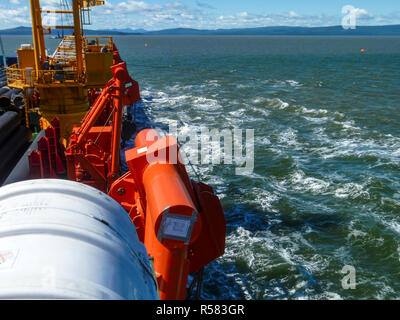 A lifeboat in case of an accident in the port or on a ship. The - Stock Photo