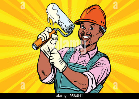 Construction worker with roller for paint - Stock Photo