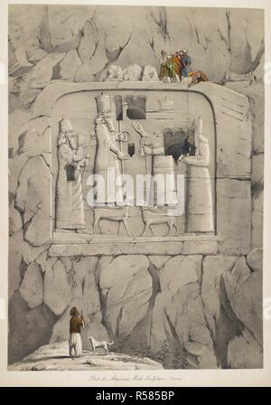 Assyrian rock sculpture. (Bavian.). A second series of the Monuments of Nineveh ... from drawings made on the spot, during a second expedition to Assyria. London, 1853. Source: Cup.648.c.2 plate 51. Author: Layard, Right Hon. Sir Austen. - Stock Photo