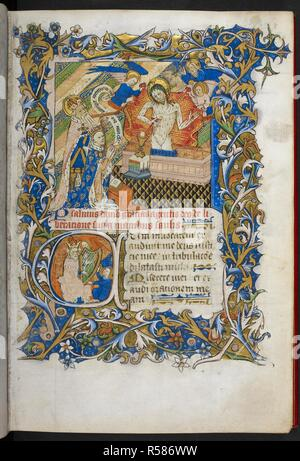 Miniature of Alban holding a Tau-cross, presenting a kneeling Duke Humfrey of Gloucester (or perhaps Henry VI), with a scroll reading 'Pietas tua domine operetur in me', to Christ as Man of Sorrows and figure of the Trinity, beneath the dove of the Holy Spirit and the Father, with two angels. A historiated initial 'C'(um) of David playing the harp with two angels, at the beginning of Psalm 4. Selection of Psalms, with calendar, prayers, and litanies ('The Psalter of Humfrey of Gloucester'). England, S. (London); 2nd quarter of the 15th century, before 1447. Source: Royal 2 B. I, f. 8. Language - Stock Photo
