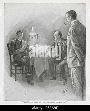 'Lestrade took out his official note-book.' An illustration for the story, 'The adventure of the six Napoleons'. Inspector Lestrade, Dr Watson and Sherlock Holmes. One of the stories in the series, 'the return of Sherlock Holmes.'. The Strand Magazine. An illustrated monthly. London : George Newnes, 1891-1950. Source: P.P.6004.glk, page 484, May 1904. no.161. Vol.xxvii. Author: DOYLE, ARTHUR CONAN. Paget, Sydney. - Stock Photo
