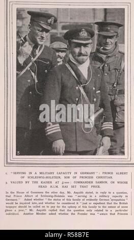 'Serving in a military capacity in Germany': Prince Albert of Schleswig-Holstein, son of Princess Christian'.  Prince Albert, Duke of Schleswig-Holstein (Albert John Charles Frederick Arthur George; 26 February 1869 – 27 April 1931), grandson of Queen Victoria.  During World War I he was excused from service against the British by the German Emperor, and spent the war in Berlin on the staff of the Governor of the city. The Sketch. London, 1914. Source: The Sketch, 2nd December, 1914. - Stock Photo