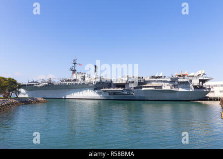 USS Midway Museum at Navy Pier in San Diego, California USA. The museum consists of the aircraft carrier Midway. - Stock Photo
