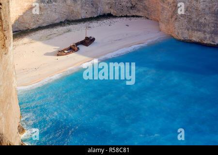Broken ship at Shipwrech bay . Navagio beach, Zakinthos, Greece - Stock Photo