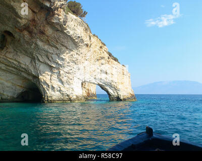 Blue caves at bright sunny day Zakinthos Greece - Stock Photo