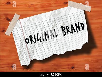ORIGINAL BRAND handwritten on torn notebook page crumpled paper on wood texture background.