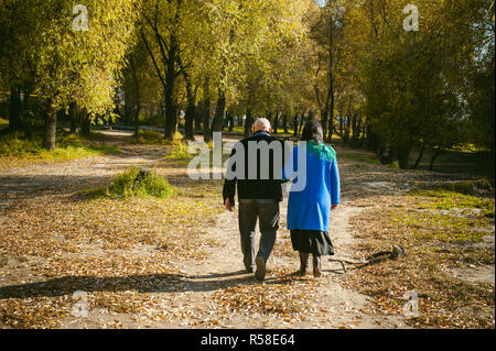 adult couple walking in autumn park. husband and wife walking outdoors in autumn last days - Stock Photo