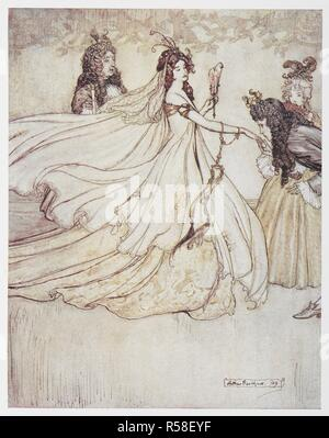 Cinderella (Ashenputtel) in a ball gown. Grimm's Fairy Tales. Illustrated by Arthur Rackham. London : William Heinemann, [1925]. 'Ashenputtel goes to the ball.'. Source: 12410.r.7. facing page 192. Author: RACKHAM, ARTHUR. GEBRUEDER GRIMM. - Stock Photo